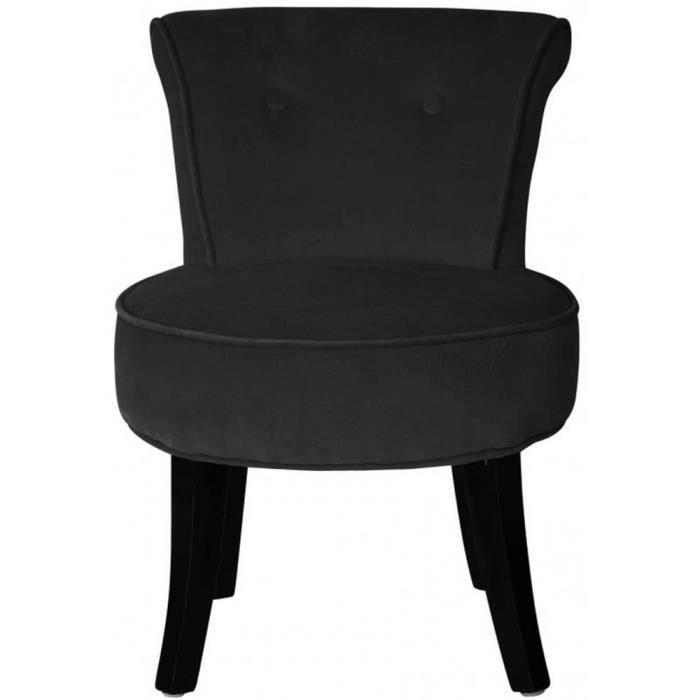 petit fauteuil crapaud velours noir louis achat vente fauteuil noir cdiscount. Black Bedroom Furniture Sets. Home Design Ideas