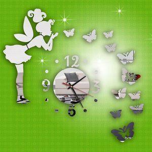 HORLOGE 40X60CM Contemporain miroir papillon fée horloge m