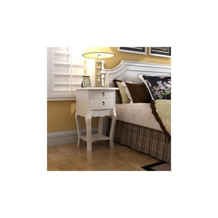 Table de chevet 2 tiroirs en blanche achat vente for Tables de chevet blanches
