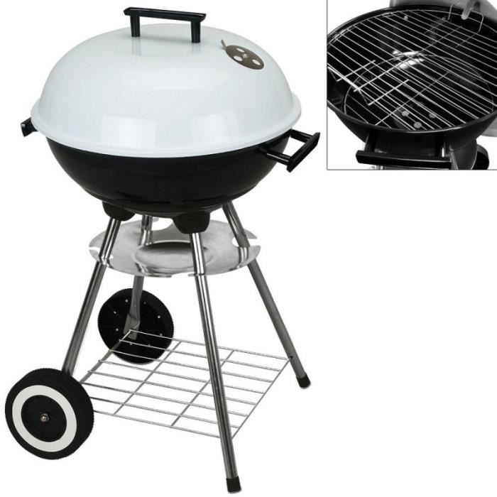 Barbecue charbon avec 2 roues 43cm barbecue rond - Barbecue rond charbon ...