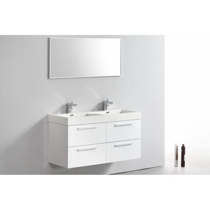Meuble double vasques 1 miroir esperra blanc achat - Miroir salle de bain design ...