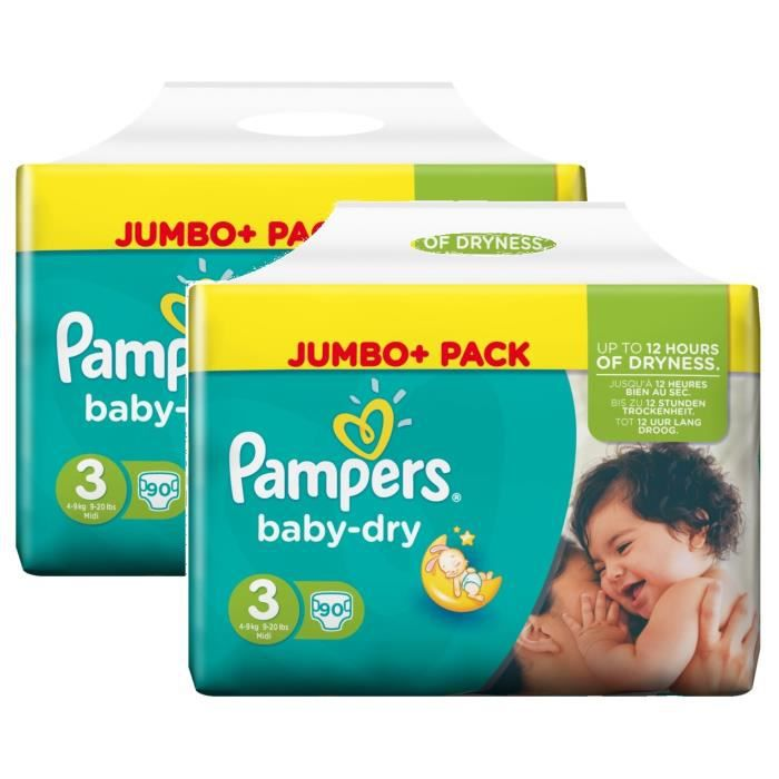 Pampers baby dry taille 3 midi 4 9kg jumbo plus pack 180 couches achat vente couche - Couches pampers taille 3 ...