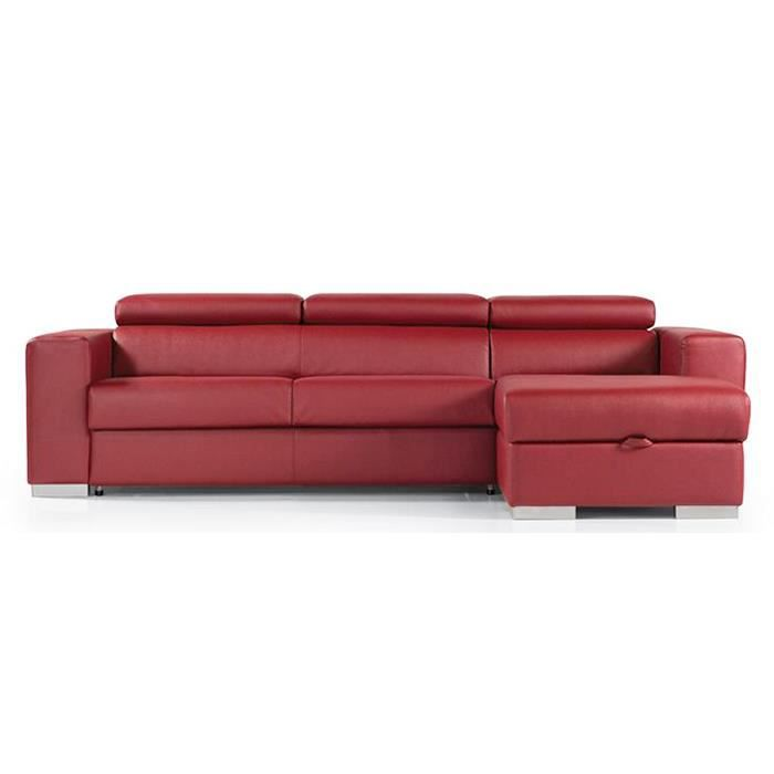 canap lit angle droit torino cuir recycl rouge achat vente canap sofa divan cuir. Black Bedroom Furniture Sets. Home Design Ideas