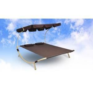 Bain de soleil pour 2 personnes marron achat vente for Chaise longue pour 2 personnes