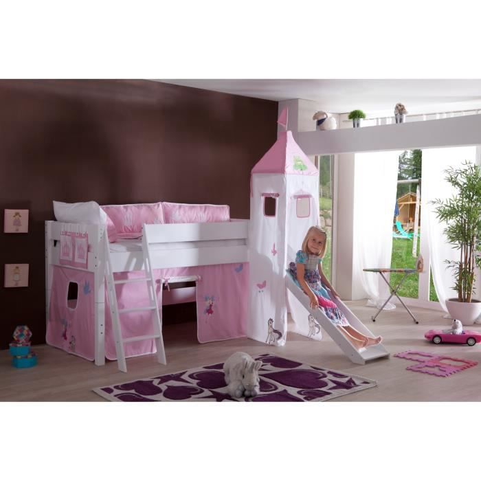 lit sur lev avec toboggan coloris rose chateau achat vente lit mezzanine cdiscount. Black Bedroom Furniture Sets. Home Design Ideas