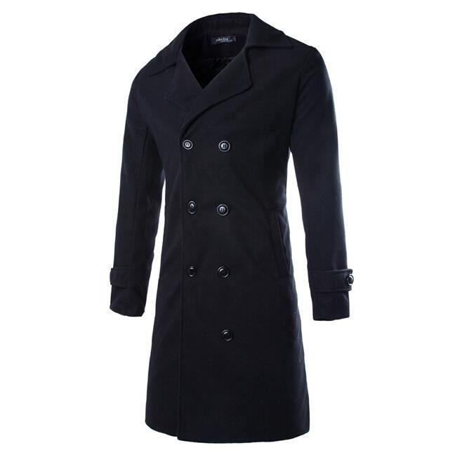 double boutonnage long manteau trench homme noir noir achat vente blouson cdiscount. Black Bedroom Furniture Sets. Home Design Ideas