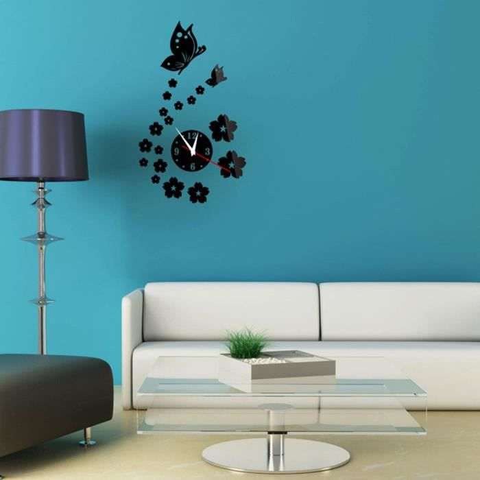 Beau mur horloge papier peint autocollant miroir diy 3d for Papier miroir autocollant