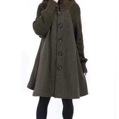 long laine veste manteau cape nouveau manteau de laine d 39 hiver vert arm e xxl achat vente. Black Bedroom Furniture Sets. Home Design Ideas