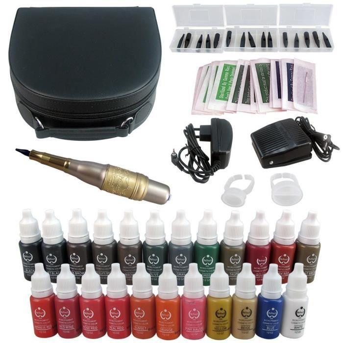 solong tattoo kit permanent de maquillage pen tatouage sourcils l vres machine 23 encres de. Black Bedroom Furniture Sets. Home Design Ideas