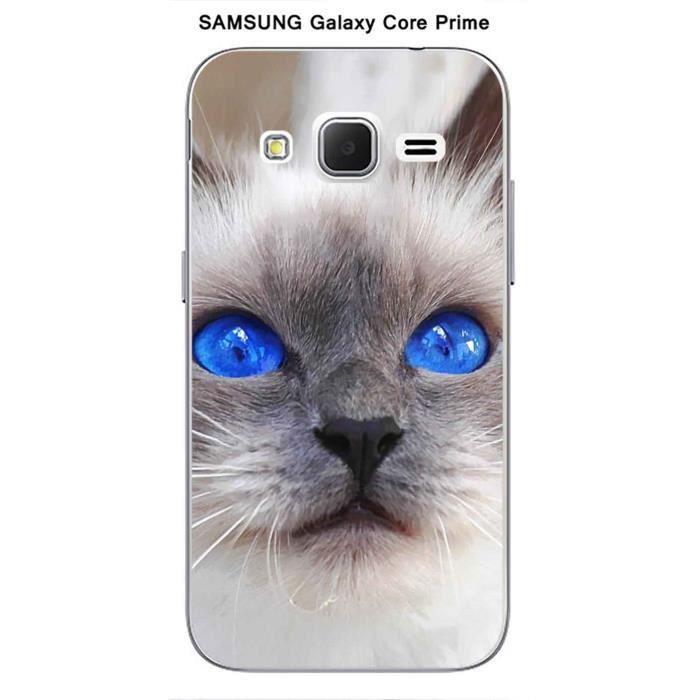 coque samsung galaxy core prime design chat siamois aux yeux bleus achat coque bumper pas. Black Bedroom Furniture Sets. Home Design Ideas