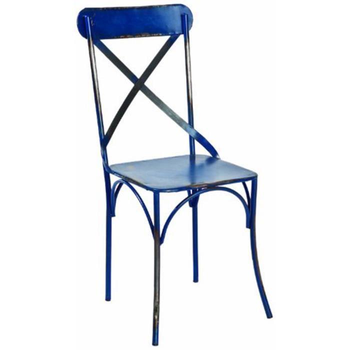 lot de 2 chaises en m tal bleu marine dim 43 x 54 x 97 cm achat vente chaise m tal. Black Bedroom Furniture Sets. Home Design Ideas
