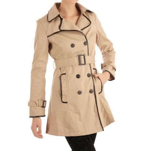 trench coat avec bordure contras beige achat vente imperm able trench cdiscount. Black Bedroom Furniture Sets. Home Design Ideas