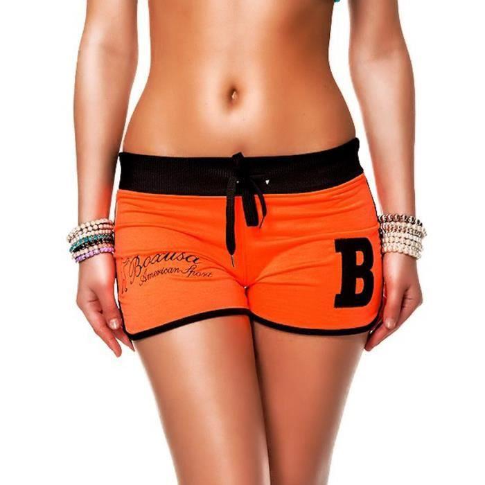 24brands shorts sport femmes orange orange achat vente short bermuda 24brands shorts. Black Bedroom Furniture Sets. Home Design Ideas