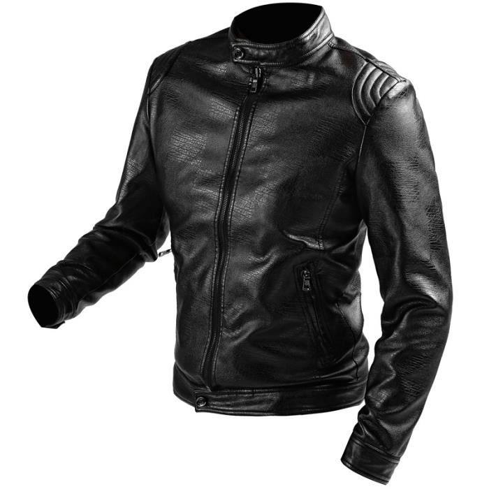 blouson homme veste homme en simili cuir courte noir achat vente blouson cdiscount. Black Bedroom Furniture Sets. Home Design Ideas