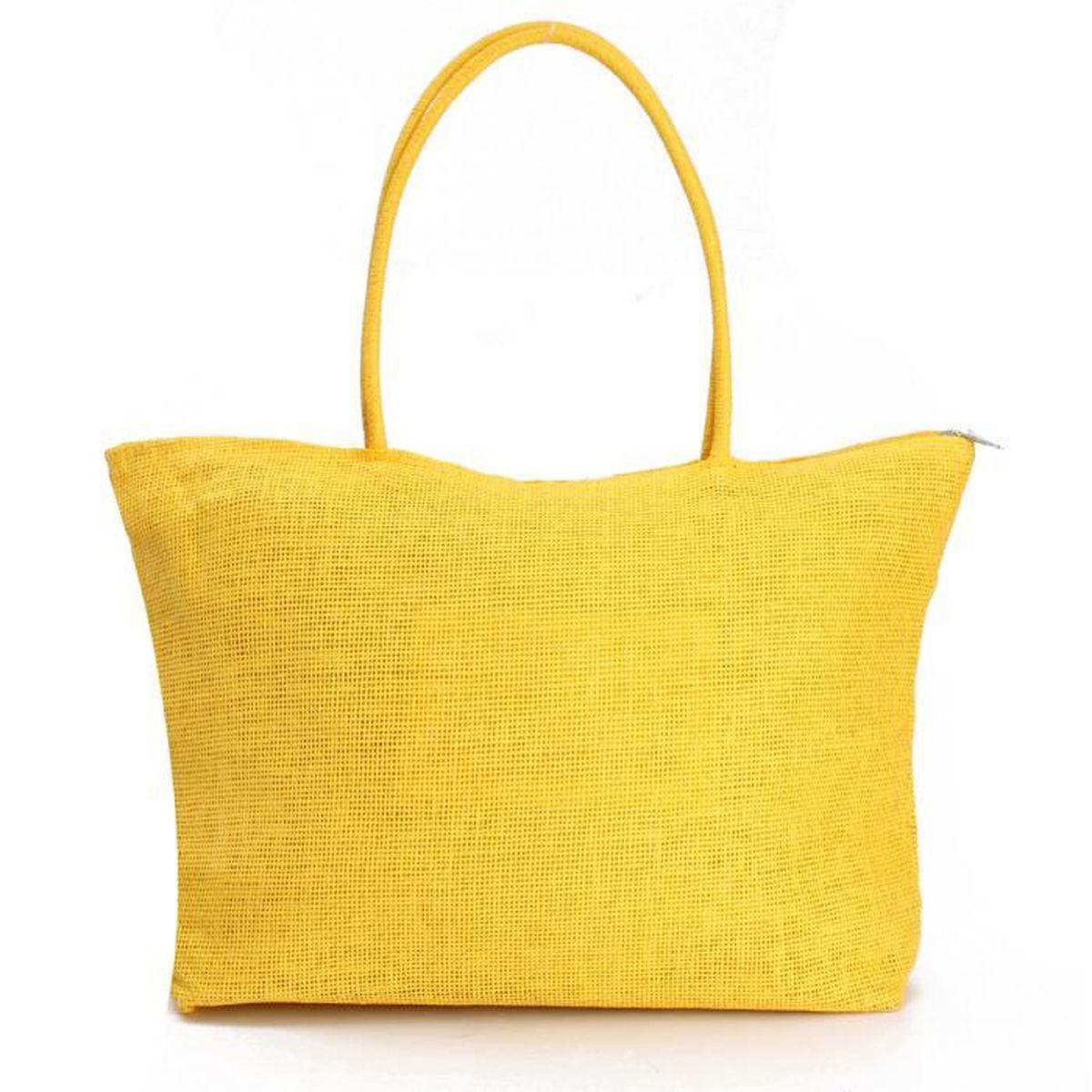 sac de plage voyage paille femme mode jaune achat vente panier sac de plage 7704312875815. Black Bedroom Furniture Sets. Home Design Ideas