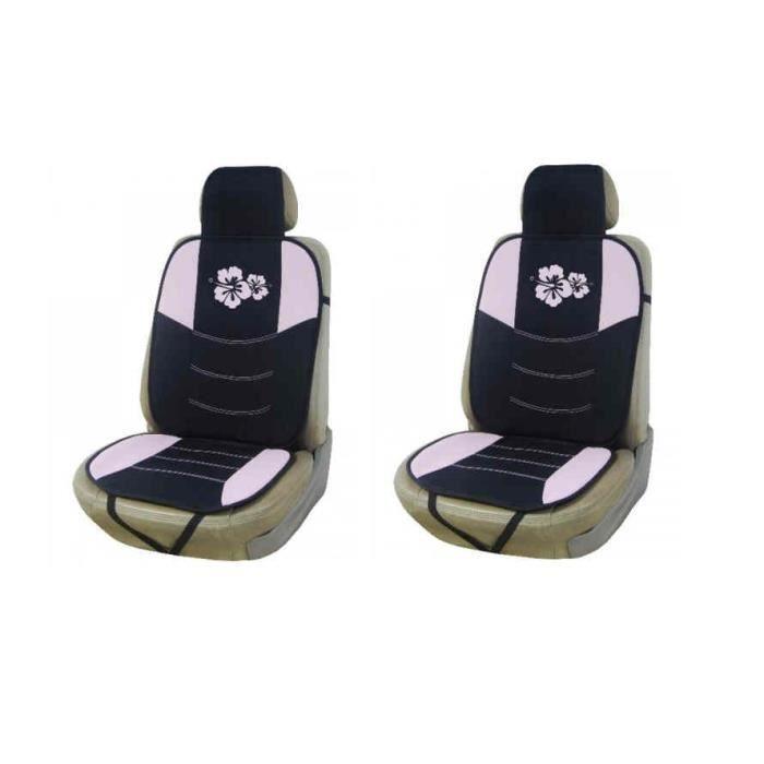 2 couvre si ge voiture noir et rose avec fleur achat vente housse de si ge 2 couvre si ge. Black Bedroom Furniture Sets. Home Design Ideas