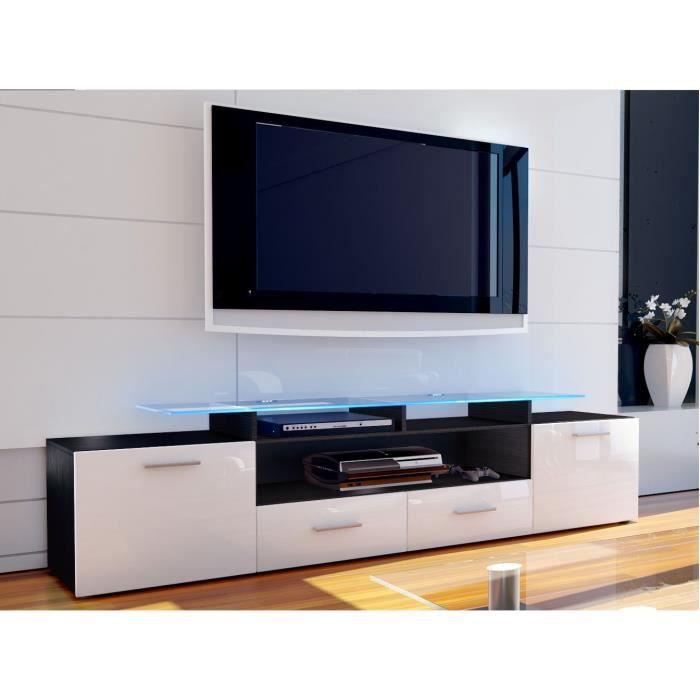 Meuble tv noir et blanc 194 cm achat vente meuble tv for Meuble noir et blanc