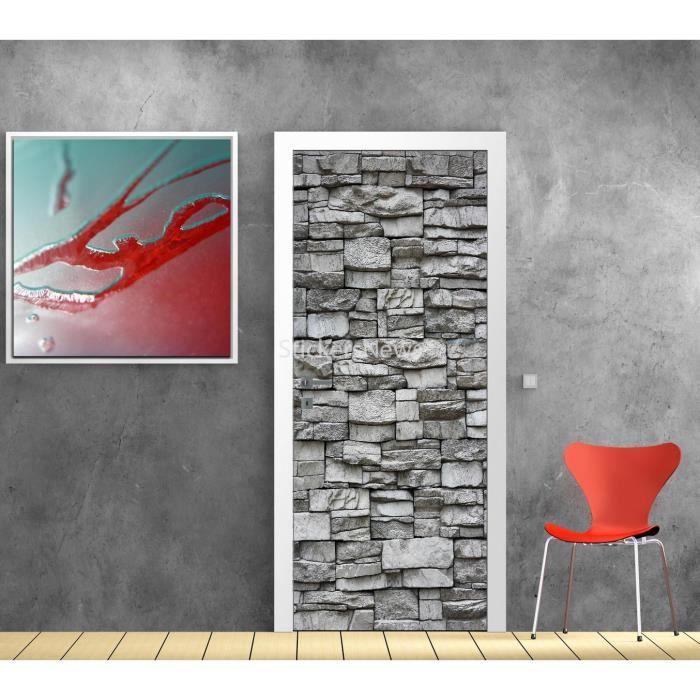 Stickers porte d co mur de pierre 9514 dimensions for Deco sur porte interieur
