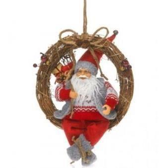 Statuette p re noel sur couronne tress e achat vente for Noel est a votre porte