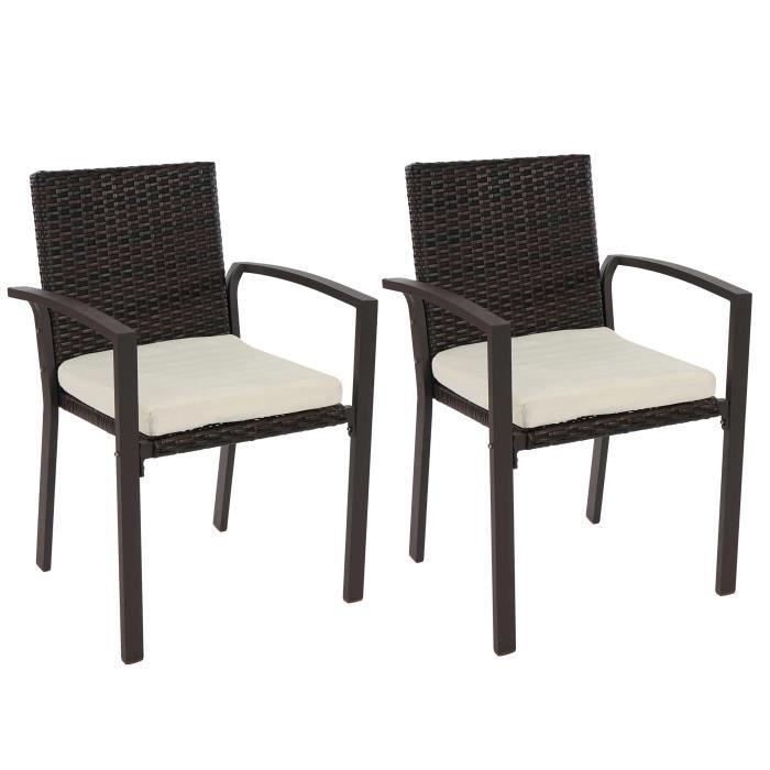 Lot de 2 chaises de jardin polyrotin palma ii empilable avec coussin marron - Lot chaise de jardin ...