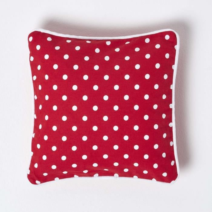 coussin d houssable pois rouge 30 x 30 cm achat vente. Black Bedroom Furniture Sets. Home Design Ideas