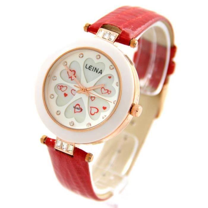 jolie montre femme coeur cuir rouge leina 1238 achat vente montre cadeaux de no l cdiscount. Black Bedroom Furniture Sets. Home Design Ideas