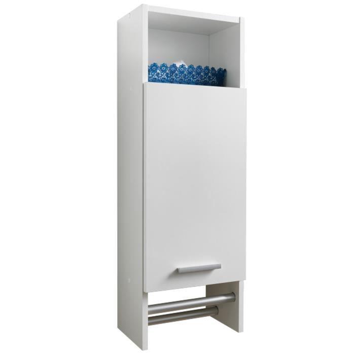 Meuble de salle de bains coloris blanc l 30 x h 87 x p 21 - Meuble salle de bain 30 cm ...