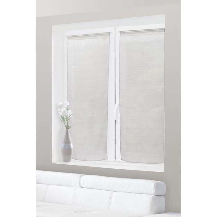 paire de voilage vitrage 60 x 160 cm rayures horizontales gris claire achat vente rideau. Black Bedroom Furniture Sets. Home Design Ideas
