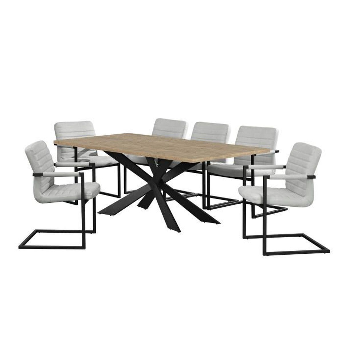 Table de salle manger ch ne naturel avec 6 for Table de salle a manger avec 6 chaises