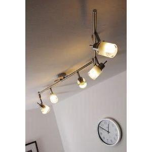 luminaire lustre lampe 6 spots sur rail plafonnier achat. Black Bedroom Furniture Sets. Home Design Ideas