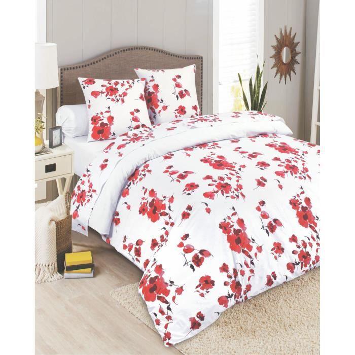 parure de drap 4 pi ces 100 coton printemps fleuri achat vente parure de drap les soldes. Black Bedroom Furniture Sets. Home Design Ideas