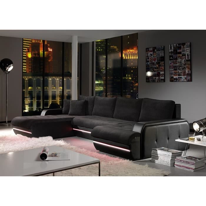 canap d angle gala noir led position angle achat. Black Bedroom Furniture Sets. Home Design Ideas