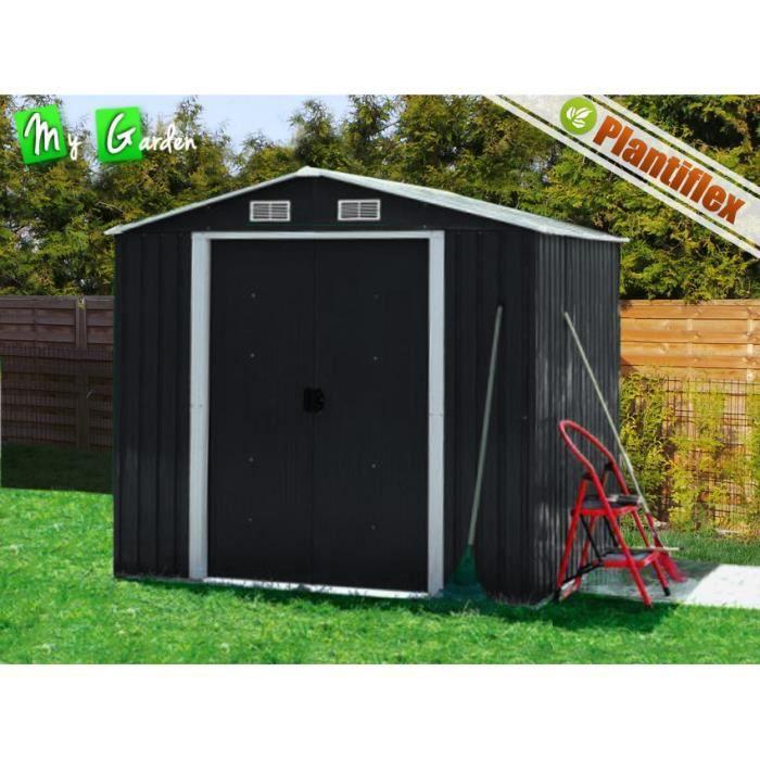 Abri de jardin m tal noir 210x130 chalet jardin achat for Porte de chalet de jardin