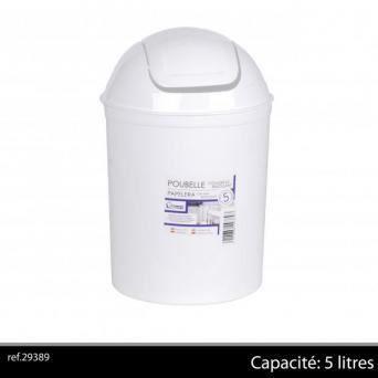 poubelle de salle de bain blanc 5 litres plastique achat vente poubelle corbeille poubelle. Black Bedroom Furniture Sets. Home Design Ideas