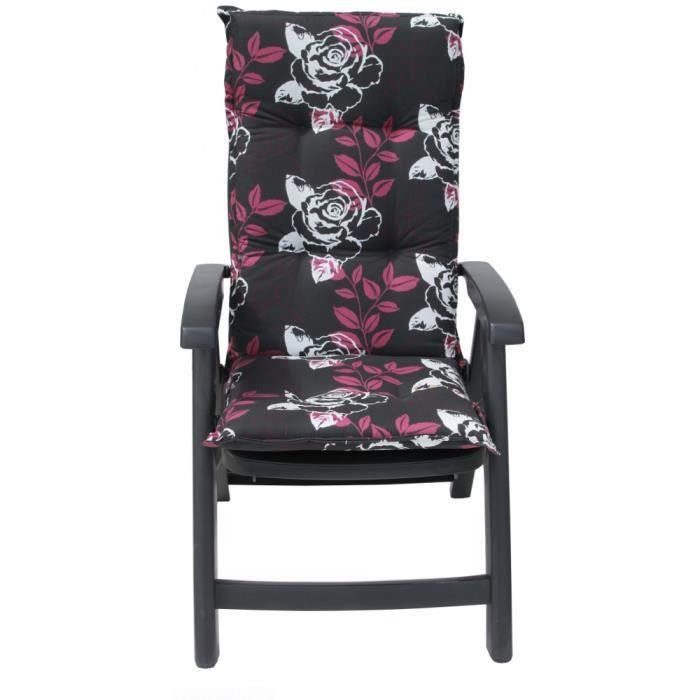 Coussin fauteuil noir roses r versible lavable achat - Coussin fauteuil exterieur ...