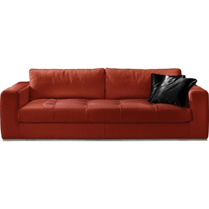 canap cuir 3 places capitonn karen rouge achat vente. Black Bedroom Furniture Sets. Home Design Ideas