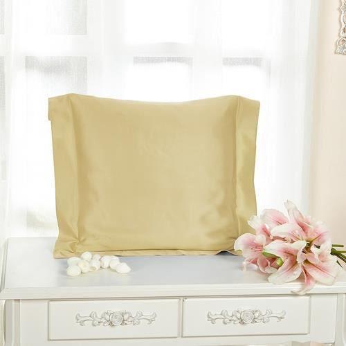 lilysilk lot de 2 taies d 39 oreillers 100 soie avec volant soie 22 momme jaune tendre 65 x 65. Black Bedroom Furniture Sets. Home Design Ideas