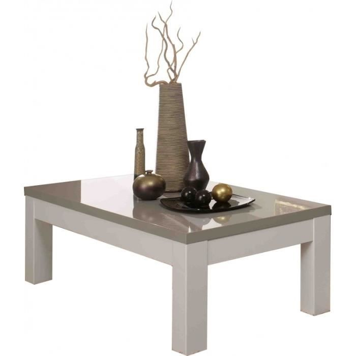 Table basse carre roma laqu blanc gris achat vente - Table basse carre laque blanc ...