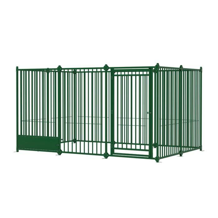 Enclos modulable en m tal 3 x 2m pour chien vert achat for Desserte en plastique pour exterieur