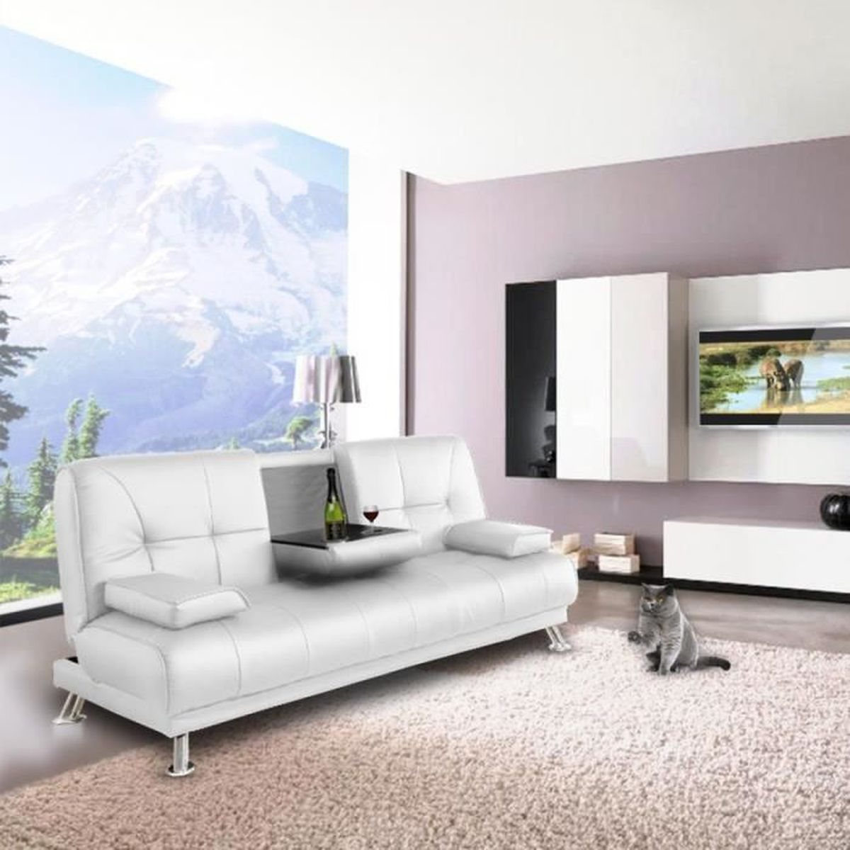 convertible canbar blanc achat vente clic clac cdiscount. Black Bedroom Furniture Sets. Home Design Ideas