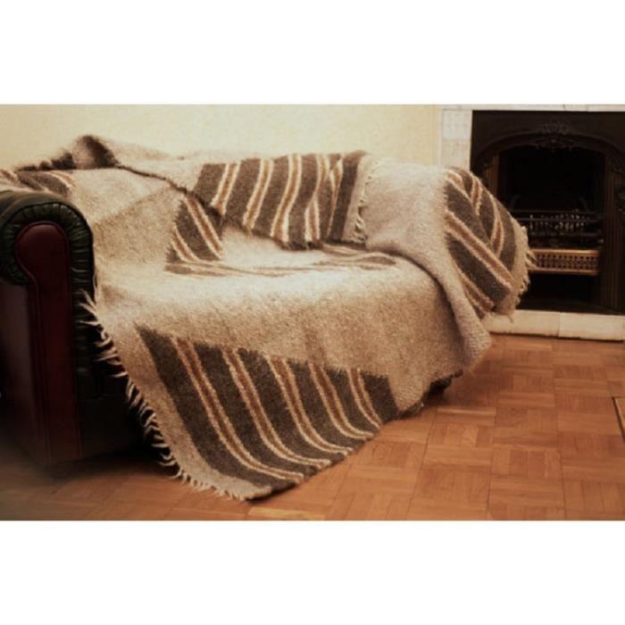 mouton couverture de laine jete de canape fait a la main plaid blanket naturel couverture