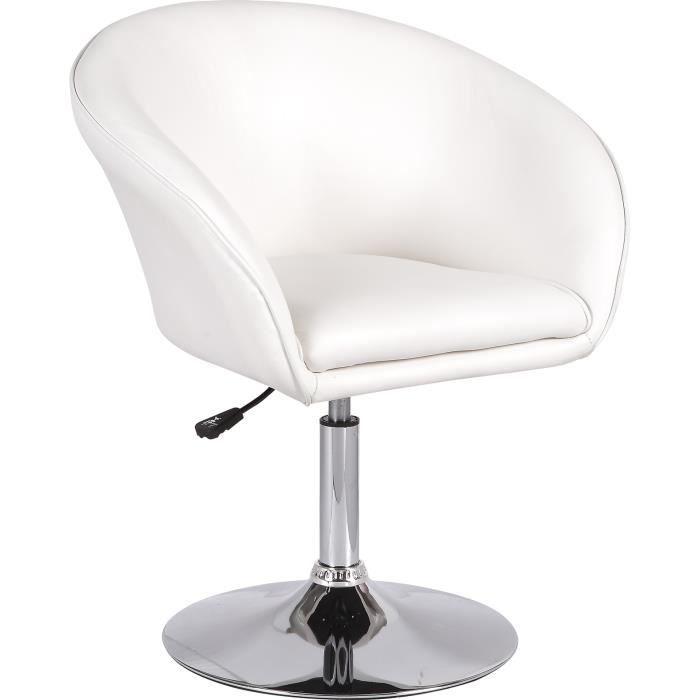 fauteuil design r glable simili cuir blanc achat vente. Black Bedroom Furniture Sets. Home Design Ideas