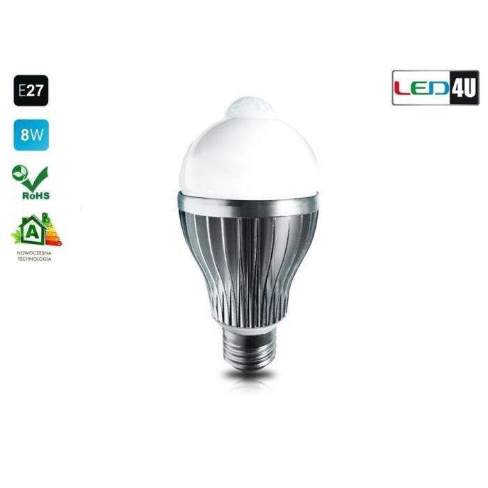 led4u ampoule avec d tecteur de mouvement blanc achat vente ampoule led cdiscount. Black Bedroom Furniture Sets. Home Design Ideas
