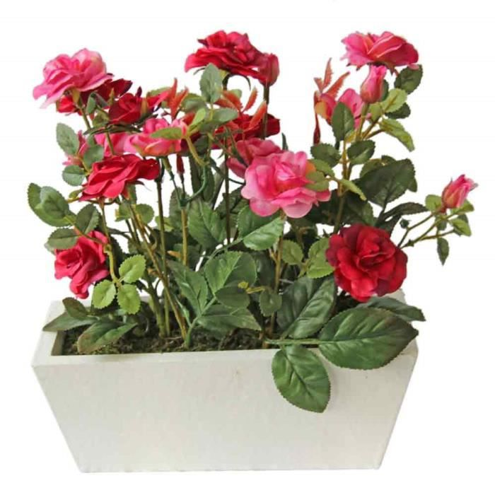 Jardini re artificielle rosier rouge achat vente fleur for Vente fleurs artificielles