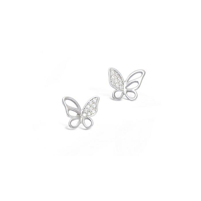 boucles d 39 oreilles papillons argent avec cz achat vente boucle d 39 oreille boucles d 39 oreilles. Black Bedroom Furniture Sets. Home Design Ideas