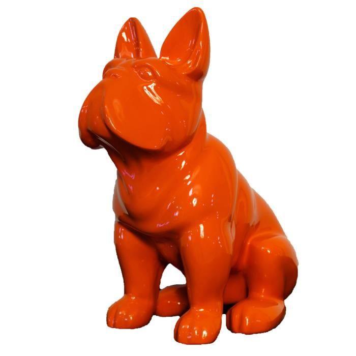 Statue bulldog fran ais orange sculpture en r sine for Statue en resine pour jardin