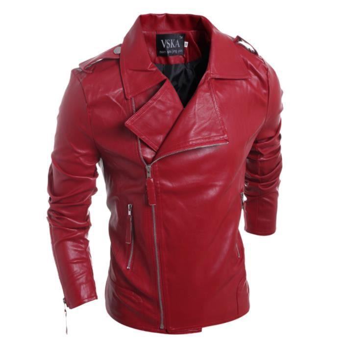 faux veste en cuir pour hommes rouge rouge achat vente blouson cdiscount. Black Bedroom Furniture Sets. Home Design Ideas
