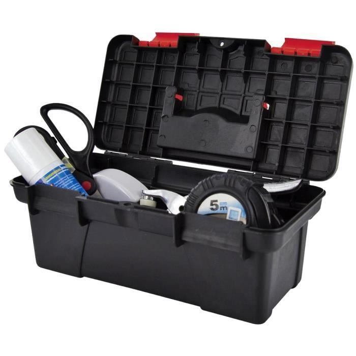 Mallette a outils vide coffre de rangement a transporter avec poignee noir achat vente - Malette a outils magnusson ...