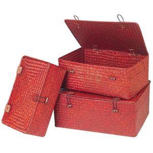 Coffret en jonc de mer tress teint en rouge fermeture for Maison rouge boite de nuit