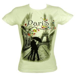 T-SHIRT Souvenirs de France - T-Shirt Femme 'Paris Fleuri'